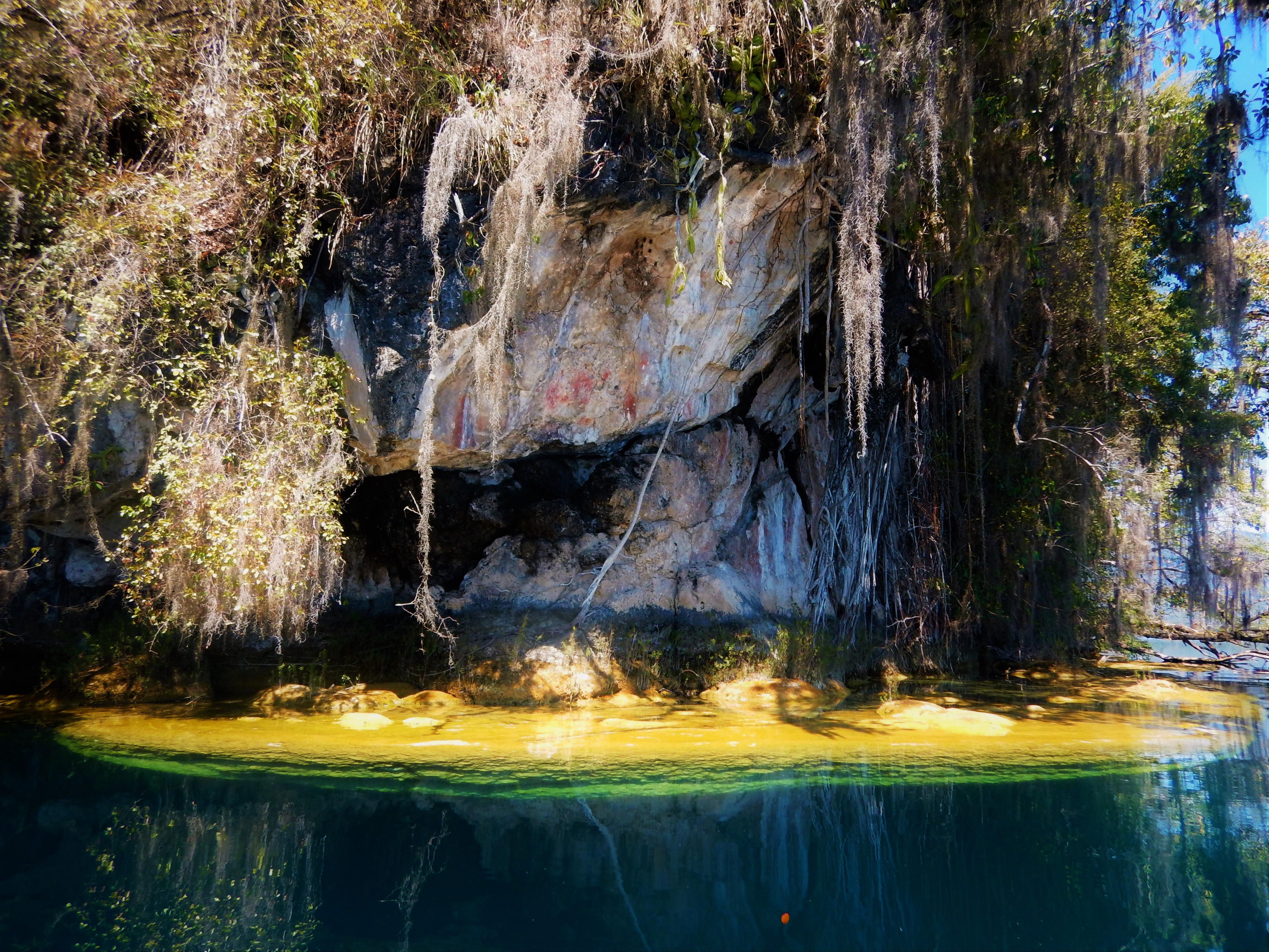 Pinturas rupestres, Laguna de Miramar, Chiapas